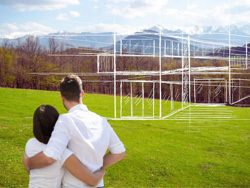 couple imagining house on land